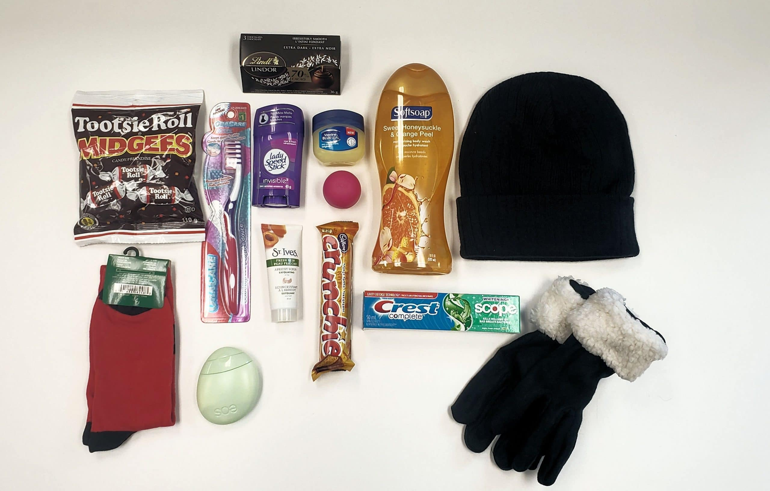 Toiletries, snacks and warm hat and gloves for the homeless care package