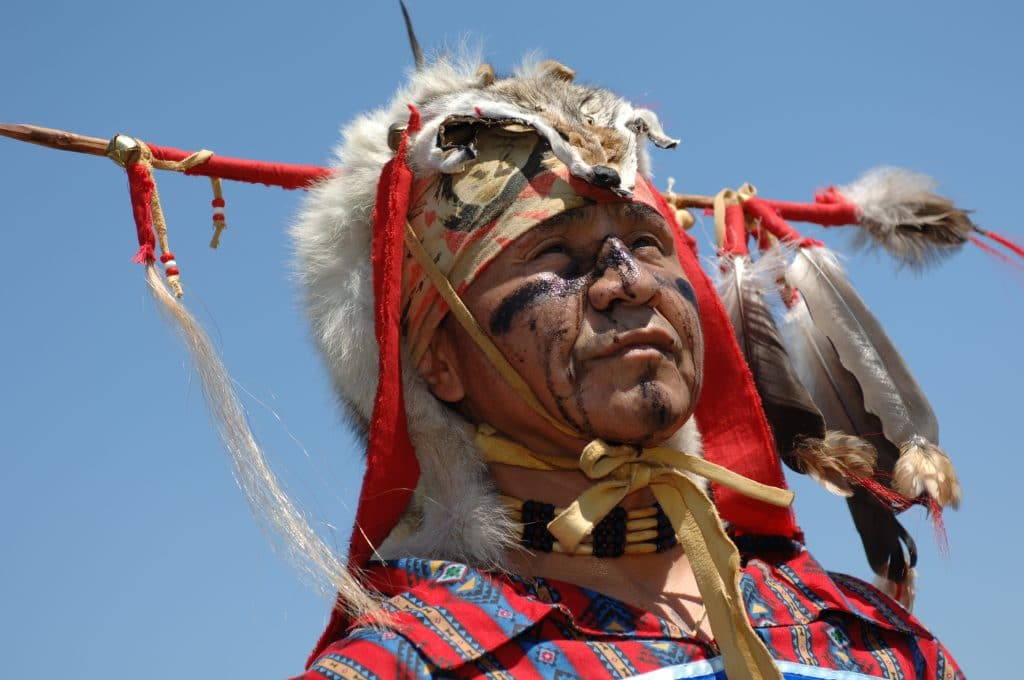 Portrait of Native Indian man taken during annual Squamish Nation Pow Wow