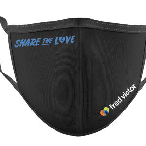 a Blck fabric face mask with blue Share The Love text and Fred Victor's logo